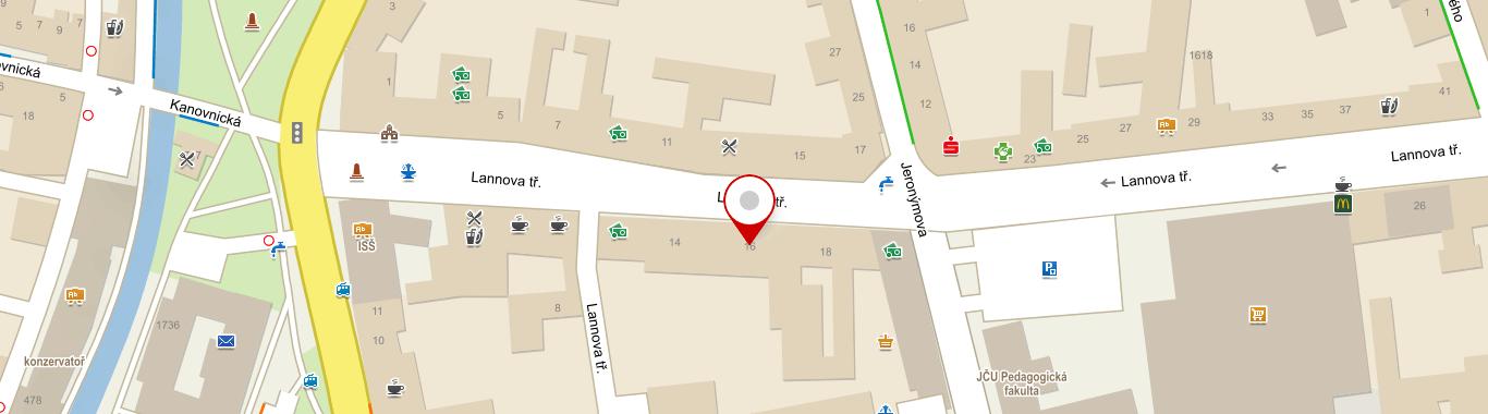 mapa realitní kanceláře Jaroslav PavlasLannova tř. 205/16, 2. patro České Budějovice 370 01
