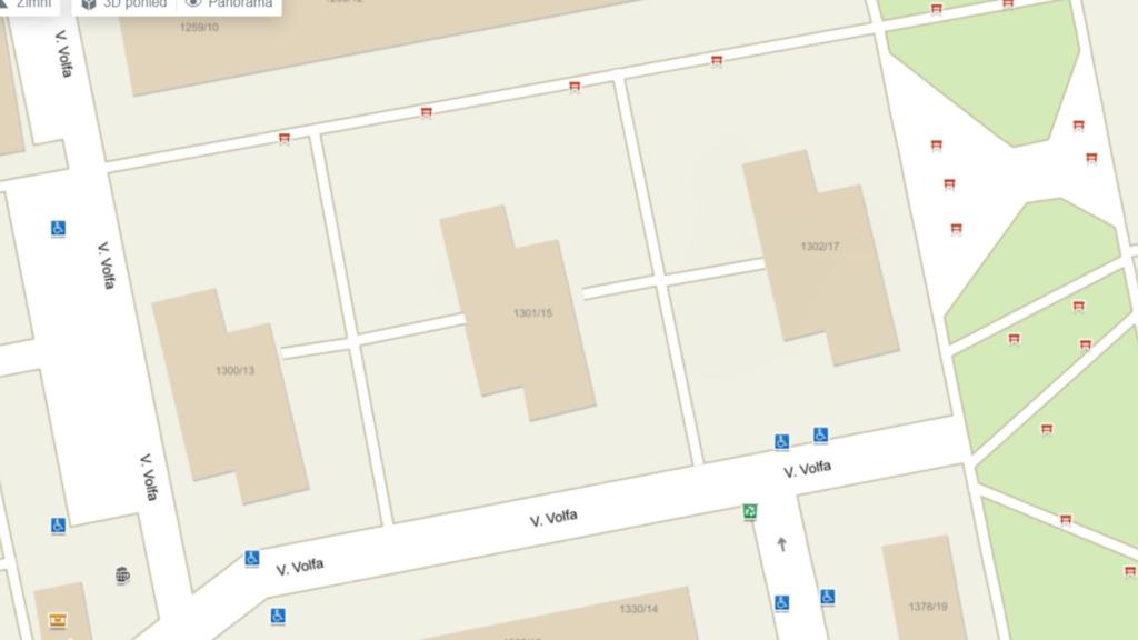 mapa bytu naprodej 3+1 Volfa 15
